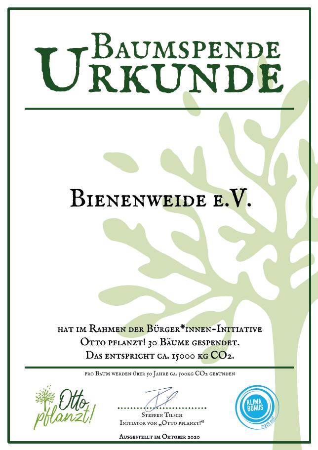 Urkunde Otto pflanzt über 30 Bäume von Bienenweide e.V.